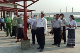 Union Minister U Shwe Lay inspects construction of extended hospital in Monywa