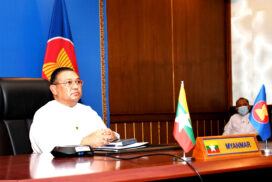 Union Minister U Wunna Maung Lwin participates in  video conference of ASEAN-UK Open-Ended Troika Dialogue