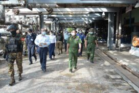 SAC Chairman Senior General Min Aung Hlaing inspects No 1 Oil Refinery (Thanlyin), development tasks in Yangon Region