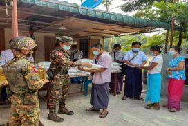 Tatmadaw provides food aids to locals of Hlinethaya, Shwepyitha, Aungmyaythazan