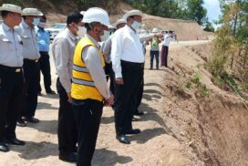 Union Minister U Shwe Lay inspects road, bridge construction in Ayeyawady region, upgrading work of highway road