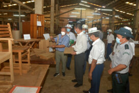 Union Minister U Khin Maung Yi visit wood-based industrial zone in Yangon