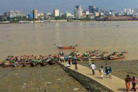 Passengers travel as usual at Yangon (Pansodan-Dala) jetty and 11 motor ferry ports