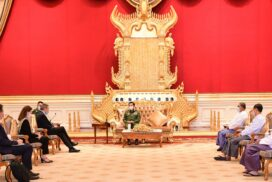 Chairman of the State Administration Council Commander-in-Chief of Defence Services Senior General Min Aung Hlaing receives the delegation led by ICRC President Mr Peter Maurer