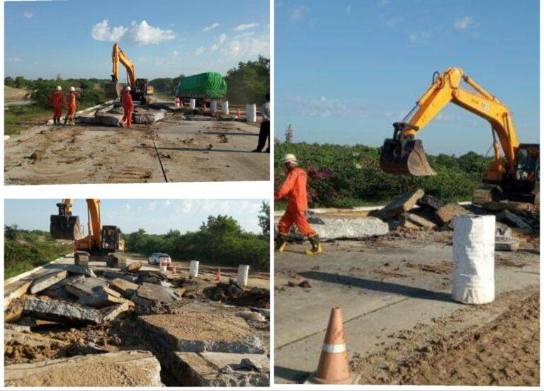 ရန်ကုန်-မန္တလေးလမ်းမကြီး၊ မိုင်တိုင်အမှတ် (၃၁၀/၀)နှင့်(၃၁၀/၁)ကြားတွင်  လမ်းမြေကျွံကျမှုဖြစ်ပွား