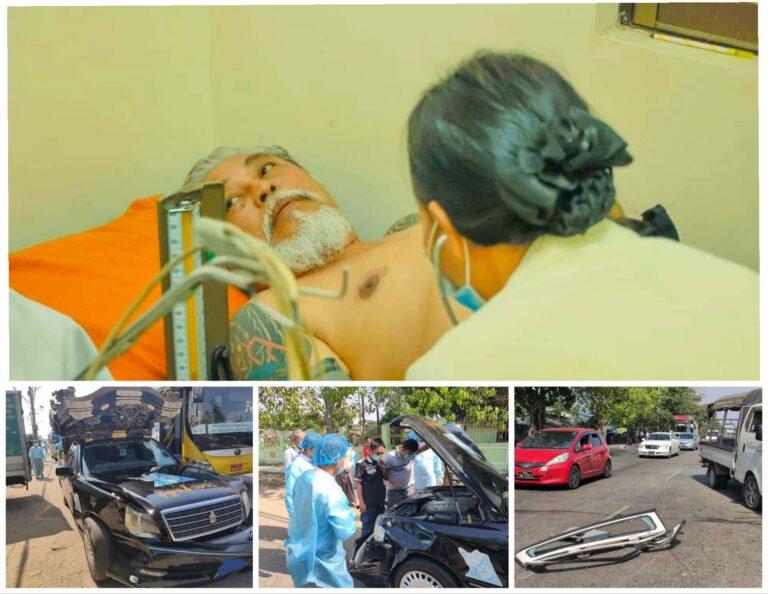 ဦးကျော်သူ ကိုယ်တိုင် မောင်းလာသည့် နာရေးကူညီမှုအသင်း နိဗ္ဗာန်ယာဉ်အား ရှေ့ဘေးမှ ကားငါးစီးဆင့်ကာတိုက်ခံရ
